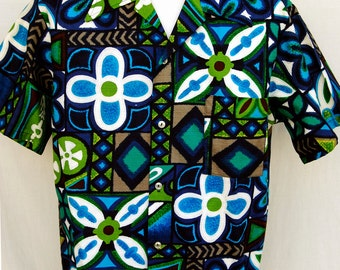 Vtg Vibrant Hawaiian Barkcloth Shirt Textured Cotton Abstracct Aloha Mens Graphic Brent M L