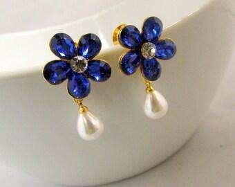 Pearl Blue Drop Earrings