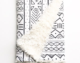 Baby Blanket Black Mudcloth. Dream Blanket. Lovey. Faux Fur Baby Blanket. Minky Blanket. Woodland Baby Blanket. White Baby Blanket.