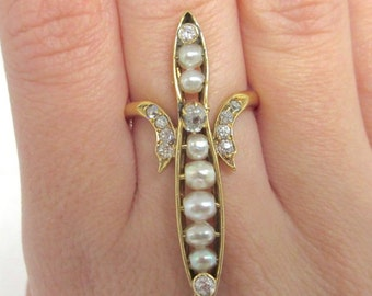 18k Yellow Gold Art Nouveau Natural Pearl and Diamond Ring