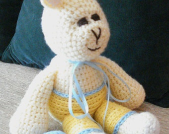 "Crocheted bunny rabbit stuffed animal doll toy ""Ronnie"""