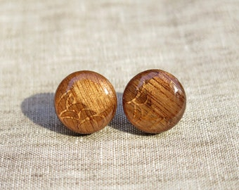 Croissantesqe - Walnut Wood in Resin Earrings