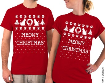 Christmas t shirt - Meowy Christmas - Red T-shirt for Men & Women