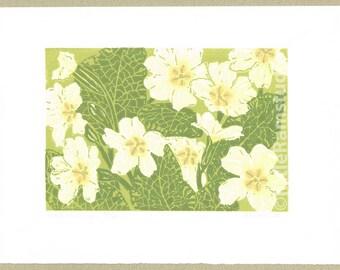 Primroses print, Primroses art, Primroses linocut print - Limited Edition Linocut Reduction Print