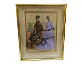 Victorian Fashion Shadow Box. Antique French Fashion Illustration in Gold Frame. Victorian Era Clothing. French Fashion Diorama.