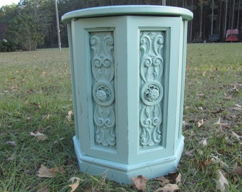 Shabby Chic Side Table, Round Side Table, Nightstand, Vintage Side Table, End Table, Furniture, Cottage Chic