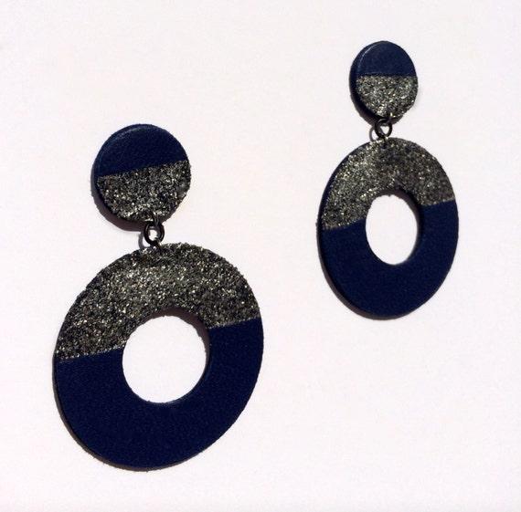 60's inspired hoop geometric leather earrings in navy blue
