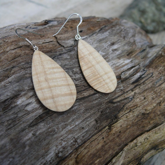 Lightweight Earrings Teardrop Silver, Wooden jewelry dangle earrings, Sterling silver hook earrings, Natural wood Boho earrings-Nature lover