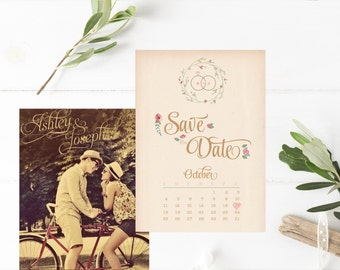 Calendar Save the Dates - Photo Save the Date Cards - Floral Rustic Save the Dates