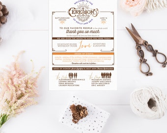 Infographic Rustic Wedding Programs - Vintage Stats Ceremony Programs - Printable Ceremony Programs