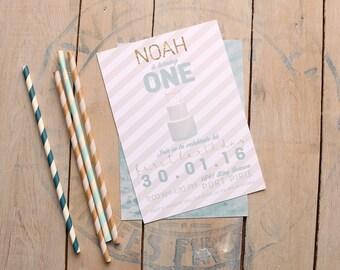 Boy Birthday Invitation - First Birthday Invitation - Modern Birthday Party - Cake Invitation - Printable - Stripes