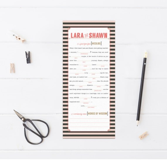 Wedding Mad Libs - Vintage Striped or Chevron Bridal Shower Libs - Ice Breaker & Guest Book Alternative - Printable - Zola