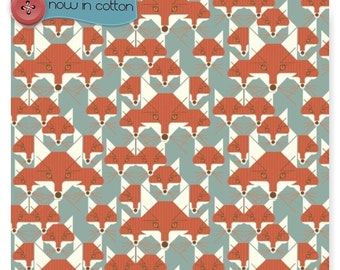 BIRCH Certified Organic COTTON Fabric  Charley Harper Fox Similies