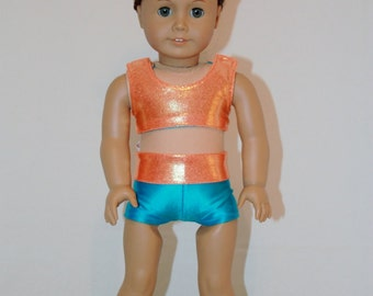 """American Girl  18"""" Doll  -  Cheerleader Sports Bra, Shorts and Bow - Orange Mystique and Turqoise Outfit"""