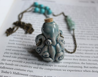 Octopus Amulet Spell Bottle necklace