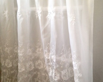 "extra long embroidered sheer Rarpel curtain panel; romantic lace curtain; Victorian white, 59"" x 73""; USA made, polyester; yesteryears"