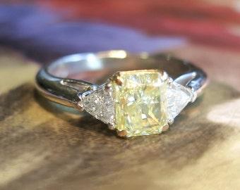 Estate Fancy Yellow Canary Diamond Trillion Cut Diamond Three Stone Engagement Ring Platinum 18k Yellow Gold