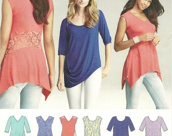 Simplicity 1198 Misses and Women's Knit Pull Over Top - Stretch Lace - Angled Hem - V-Neck - Size 4, 6, 8, 10, 12, 14, 16, 18, 22, 24, 26