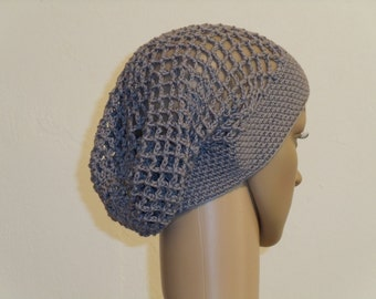 Crochet skull hat made of pure cotton grey