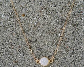 Tiny Gold Druzy necklace, Dainty, Druzy, Gold Necklace, Bridesmaid Necklace