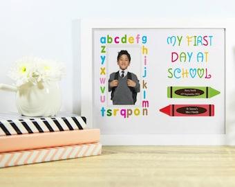First Day At School Keepsake. Personalised Print. Personalised Photo Print. Memories Print.