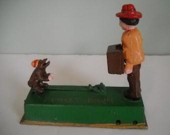 Monkey Trick Mechanical Bank Cast Iron