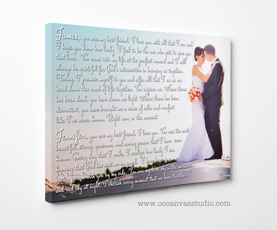 Personalized Wedding Canvas Art Gift. Add Wedding Lyrics, Vows, Songs ...