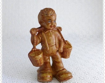 Dutch Boy Figurine, Vintage Boy Figure, Plastic with Faux Wood Finish, Carrying Water Buckets