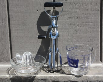 3 piece Vintage Cooking Utensils Lot - Anchor Hocking Glass 2 cup Measuring cup, Glass Juicer/Reamer and Ekco Mechanical Hand Mixer/ Beater