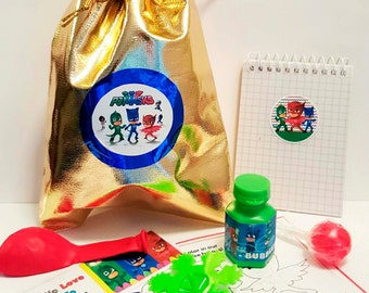 PJ Masks loot/party bag with 9 items inside, great value