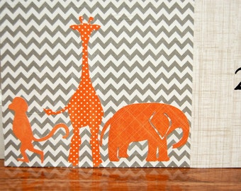 4 Foot Growth Chart, Orange and Grey, Safari Theme, Zoo Animals, Contemporary, Monkey, Giraffe, Elephant for Little Boy or Baby Gift