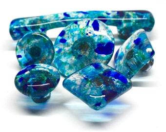 Blue Glass Knob Etsy