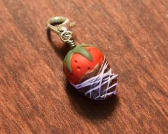 Chocolate Dipped Strawberry Charm Polymer Clay Strawberry Jewelry Food Valentines Day Gift Miniature Strawberry