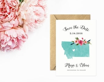 Montana Save The Date, State Wedding Invitations, Montana Wedding, Watercolor Flowers