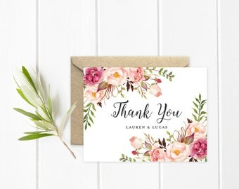 Boho Thank You Card, Personalized Wedding Thank You Cards, Pink Watercolor Flowers and Feathers