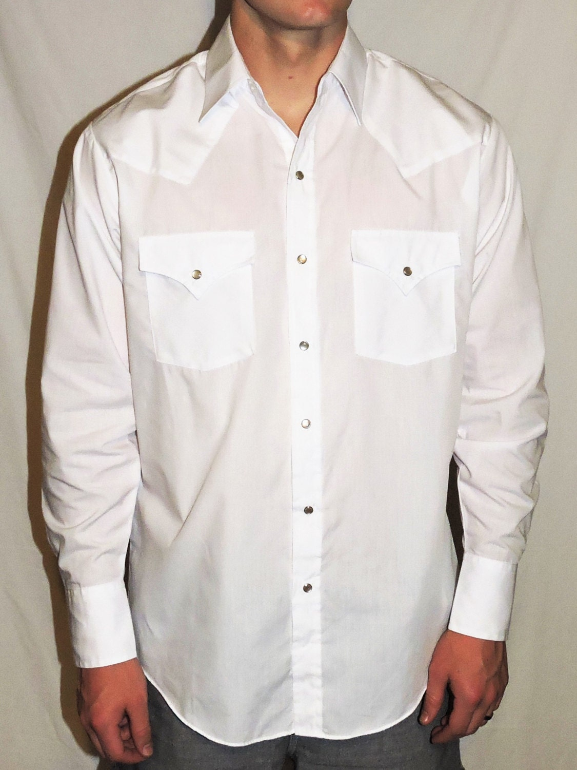 vintage plains western wear mens retro white sleeve