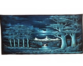 LARGE Velvet Painting Vintage Signed Landscape Painting 55 by 27 Night Scene