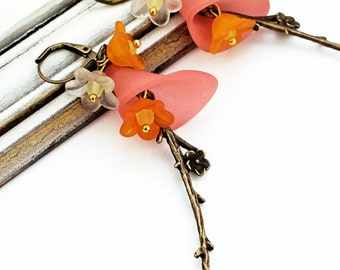 Cherry Blossoms, Japan, orange, red, earrings, flowers, branches, petals, gold, white, yellow, cute, romantic, antique bronze