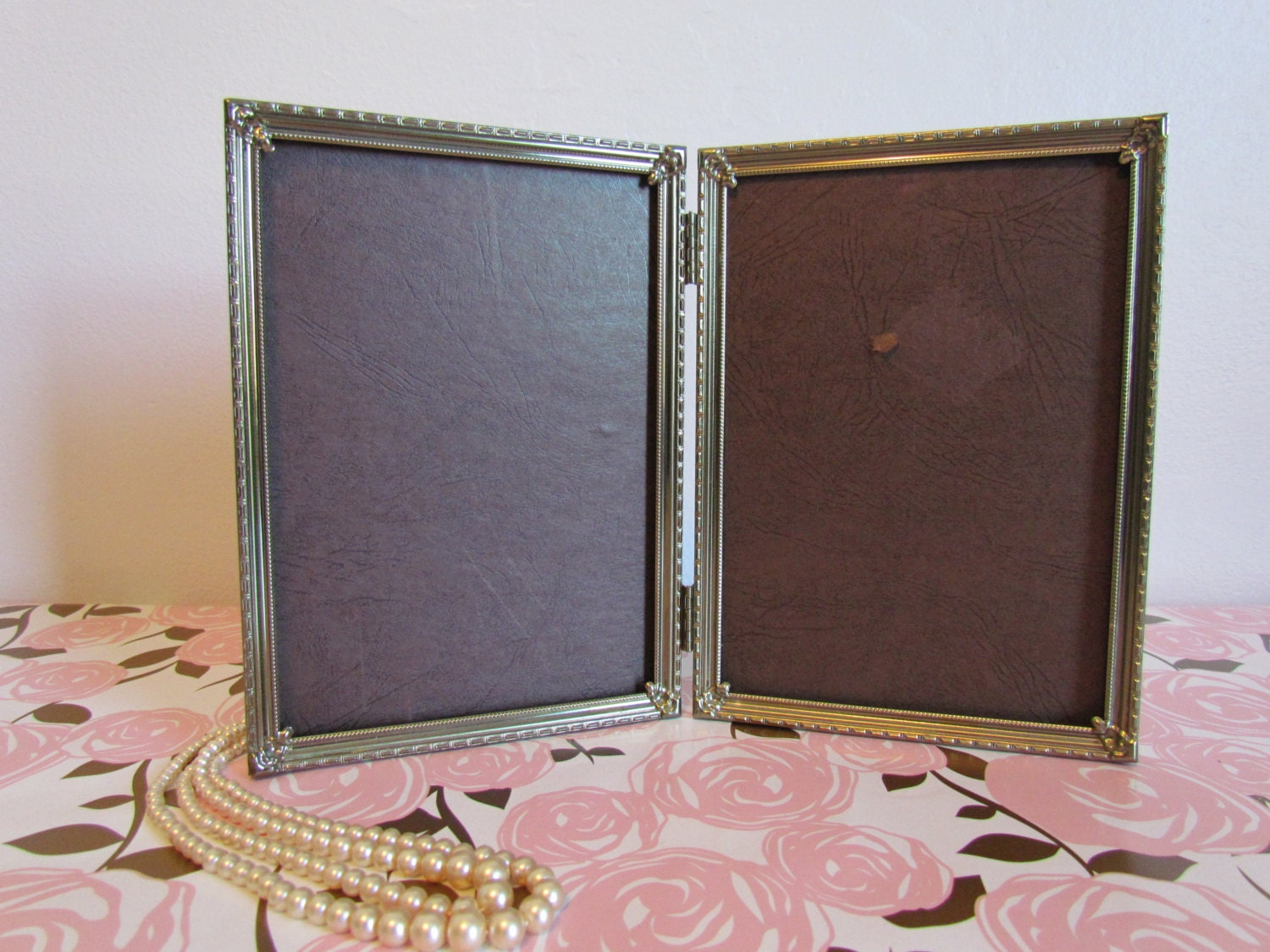 Vintage Art Deco Double Pinterest Wedding Frame Gold Metal