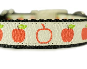 "Cotton Dog Collar 3/4"" Cream Apples Dog Collar"