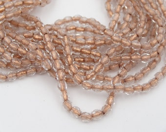 Czech Glass 3mm Fire Polish Crystal Copper Lined  50 Pieces