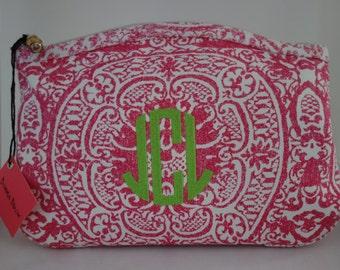 monogrammed hot pink medallion cosmetic bag