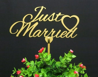 Wedding cake topper, Just Married cake topper, gold cake topper, wooden cake topper, custom cake topper, Item009