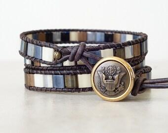 Boho chic brown silver slate blue bronze tila bead leather 3 wrap bracelet/ Bohemian ladder mosaic triple wrapped beaded yoga bracelet