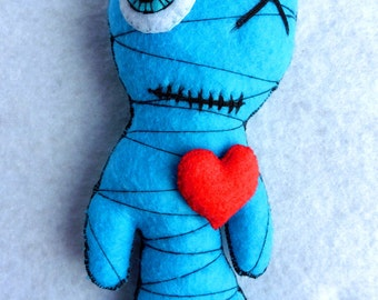 The Little Mummy Blue Turquoise - Gothic Horror Halloween Voodoo Doll