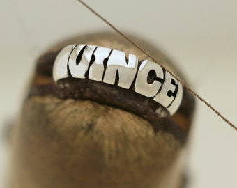 Hand Carved Silver Name Ring