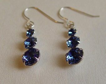 Sterling Silver earrings with Vintage Swarovski Sapphire Crystal 3 tier drops