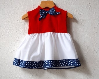 4th July - Vintage Red, White and Blue Bow Dress - Age 9 to 18 Months