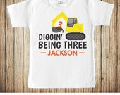 Construction Birthday Shirt | Boys Personalized 3rd Birthday Shirt | Digger | Front Loader | Excavator | Construction Theme Birthday Tshirt