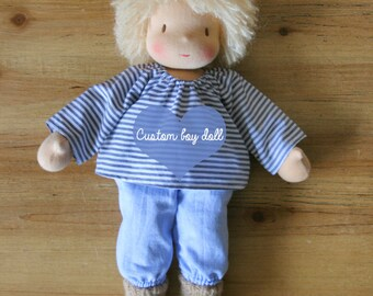Custom boy doll - Made to order - Middle sized doll with blond, brown or red hair - Waldorf boy doll with clothing